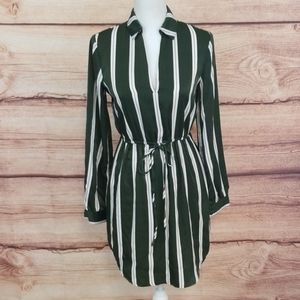Lush Green and White long sleeve dress